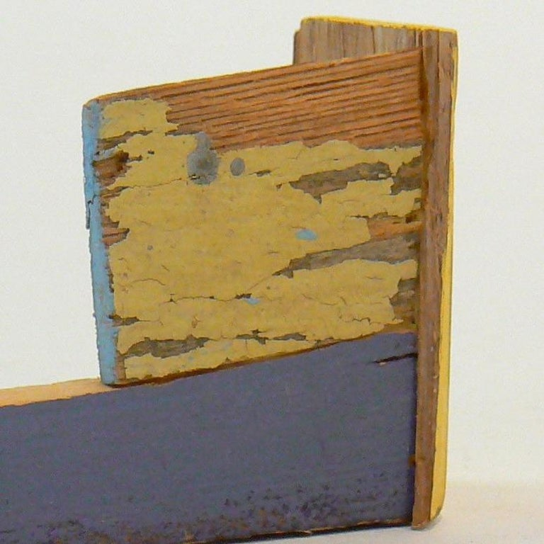 """The freestanding sculptures in this portfolio are made from the """"sticks"""":  a pile of found wood that Sweibel has been pulling from to make new works since about 2002.  The pile consisted of more than a dozen four- to seven-foot lengths of hardwood,"""