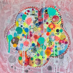 Abstract, Colorful Mixed Media Painting by Liz Tran 'Mini Cloud I'