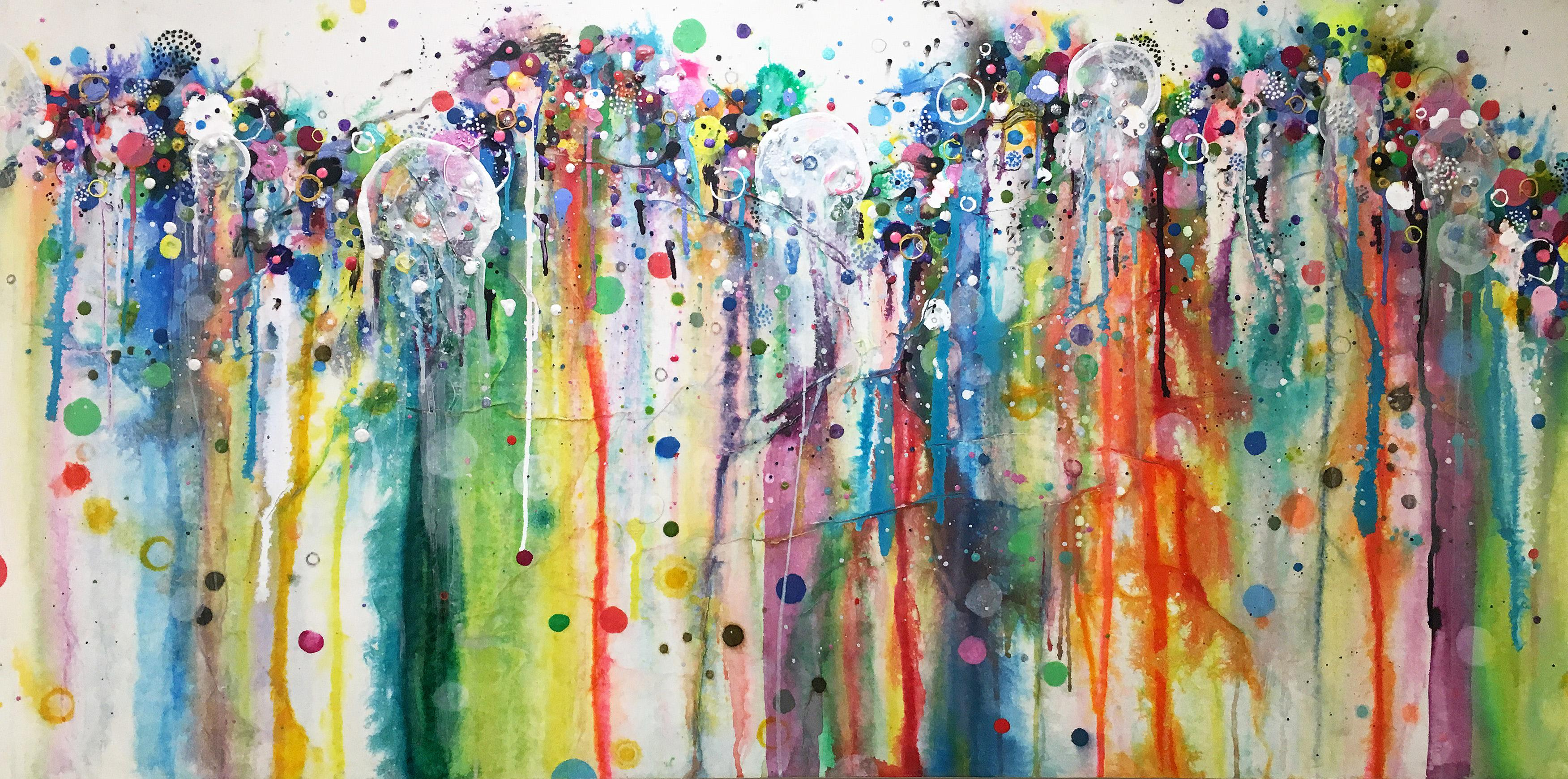Colorful, Abstract painting, Liz Tran, Heart Map Two: Sneaky Smoke