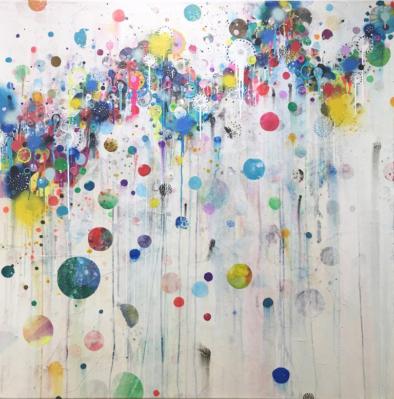 """'Nico' 2019 by Seattle based abstract painter, Liz Tran. Mixed media on panel, 48 x 48 in. The featured """"Party"""" paintings are festooned with bold neon colored bubbles, streamers, splatters, and elongated drips. Composed of ink, acrylic, graphite,"""