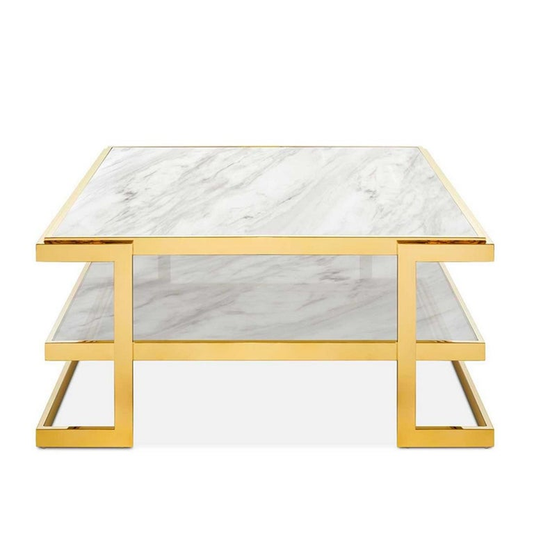 Coffee table Liz white with metal structure in