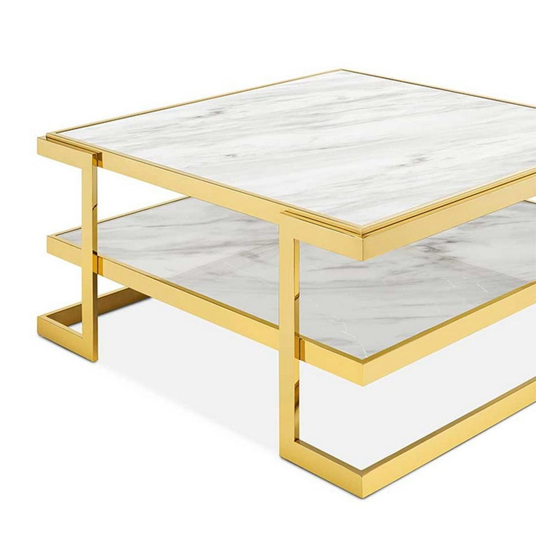 Italian Liz White Coffee Table For Sale