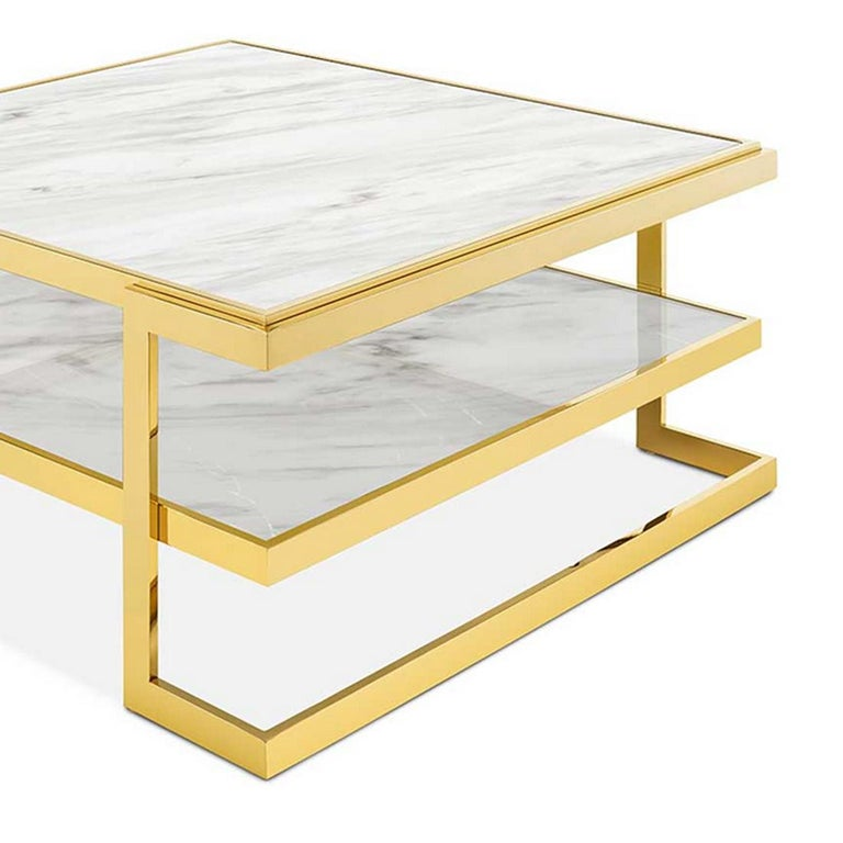 Gilt Liz White Coffee Table For Sale