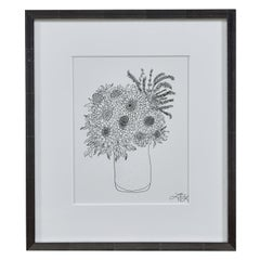 Liz Young, Still Life of Flowers in a Vase, Ink on Paper