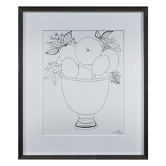 Liz Young, Still Life of Fruit in a Footed Bowl, Ink on Paper