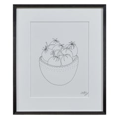 Liz Young, Still Life of Tomatoes in a Bowl, Ink on Paper