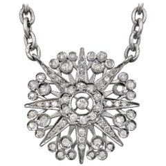 Liza Beth Art Deco Diamond Starburst Rhodium Silver Drop Necklace