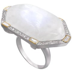 Liza Beth Moonstone Round and Baguette Diamond Gold Silver Statement Ring