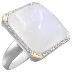 Liza Beth Square Moonstone Round and Baguette Diamond Gold Silver Cocktail Ring