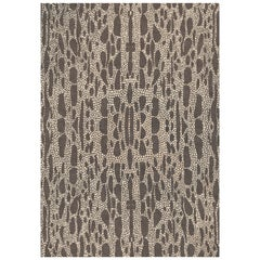 Lizard Custom Made Hand Knotted Dark Brown Wool Rug by Allegra Hicks