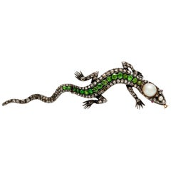 Lizard Diamond Pearl Tsavorite Pin