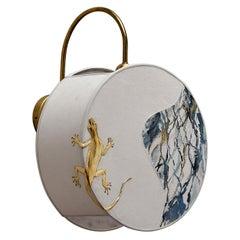 Lizard Pattern Sconce Lamps Handmade Velvet and Brass