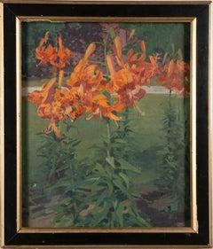 Antique American School Modernist Flower Still Life Original Framed Oil Painting