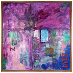 Lizz Mixed-Media Acrylic and Collage on Canvas by Ronald Frederick Dockter