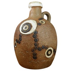 Løkke Still Danish Handmade Ceramic Bottle Vase with Handle, 1960s