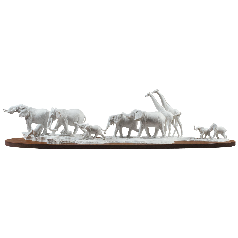 Lladro African Savannah Wild Animals Sculpture in White by Ernest Massuet