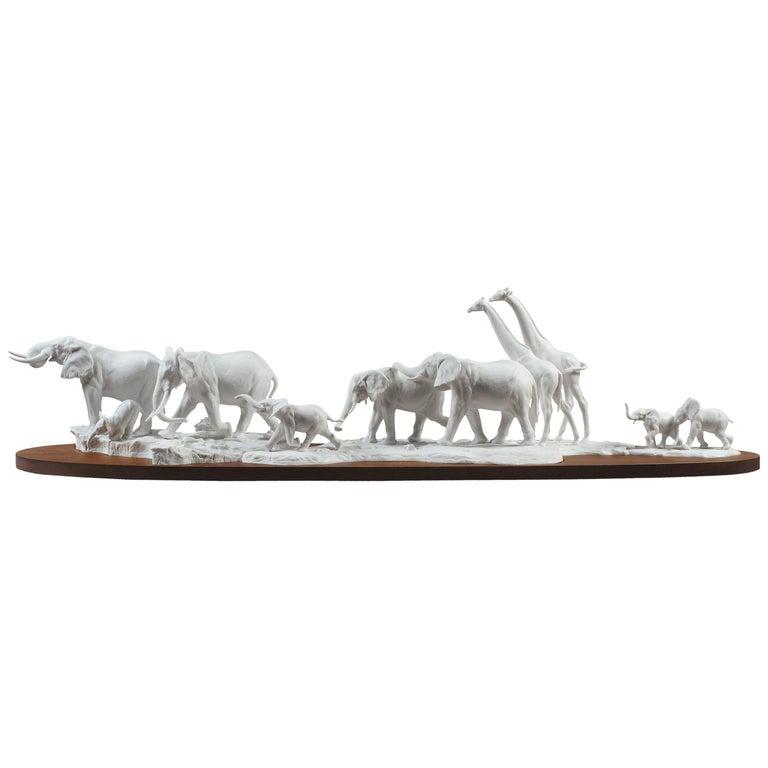 Lladro African Savannah Wild Animals Sculpture in White by Ernest Massuet For Sale