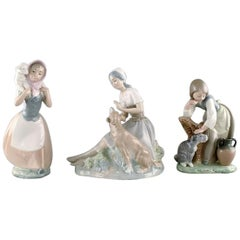 Lladro and Nao, Spain, Three Porcelain Figurines, Young Girls with Farm Animals