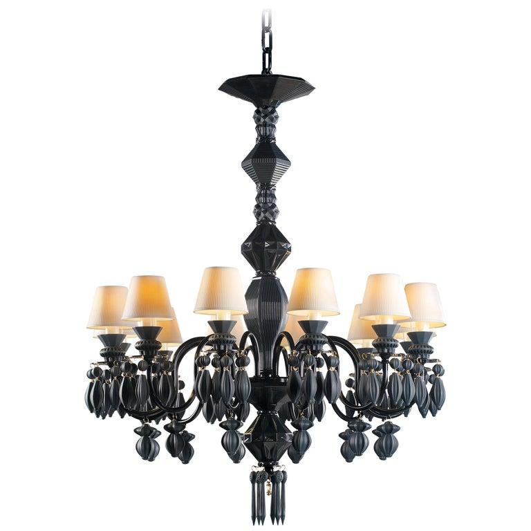 For Sale: Black (Absolute Black) Lladro Belle de Nuit 12 Lights Chandelier