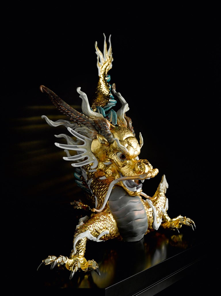 Modern Lladro Great Dragon Sculpture in Golden Lustre by Francisco Polope For Sale