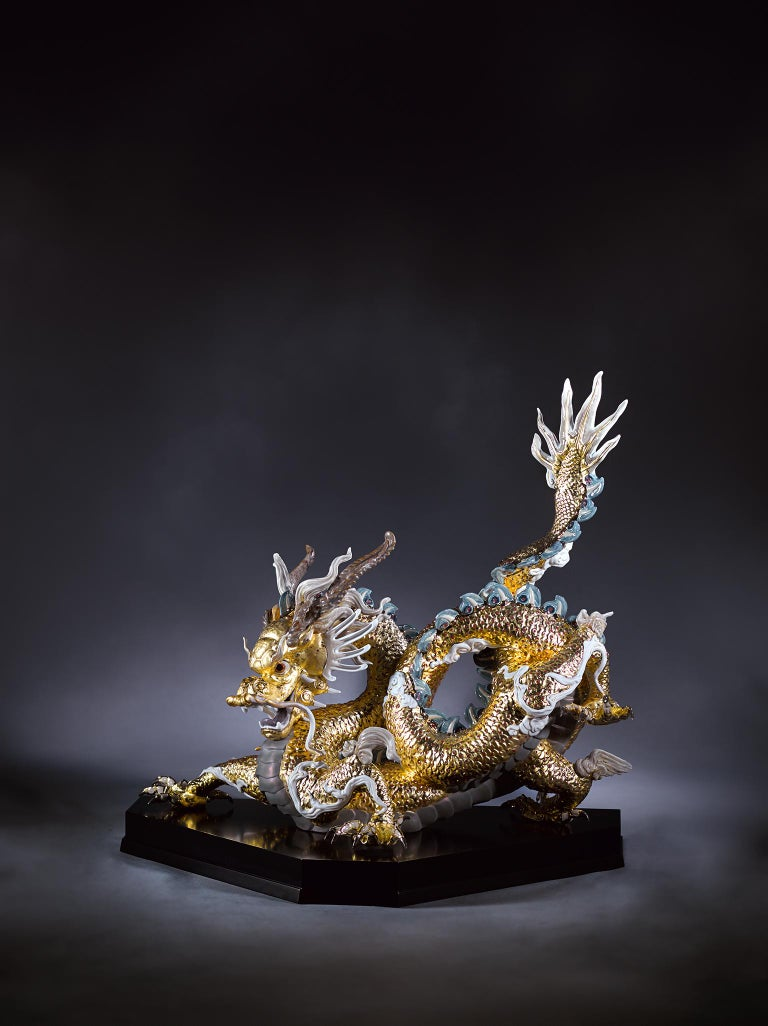 Spanish Lladro Great Dragon Sculpture in Golden Lustre by Francisco Polope For Sale