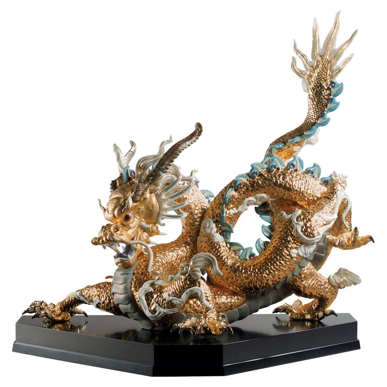 Lladro Great Dragon Sculpture in Golden Lustre by Francisco Polope For Sale