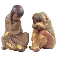 Lladro Gres Eskimo Boy and Girl, Spain, 1970s