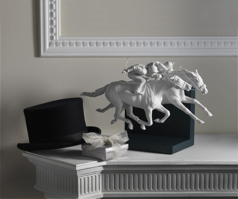 Modern Lladro Horse Race Figurine in White by Ernest Massuet For Sale