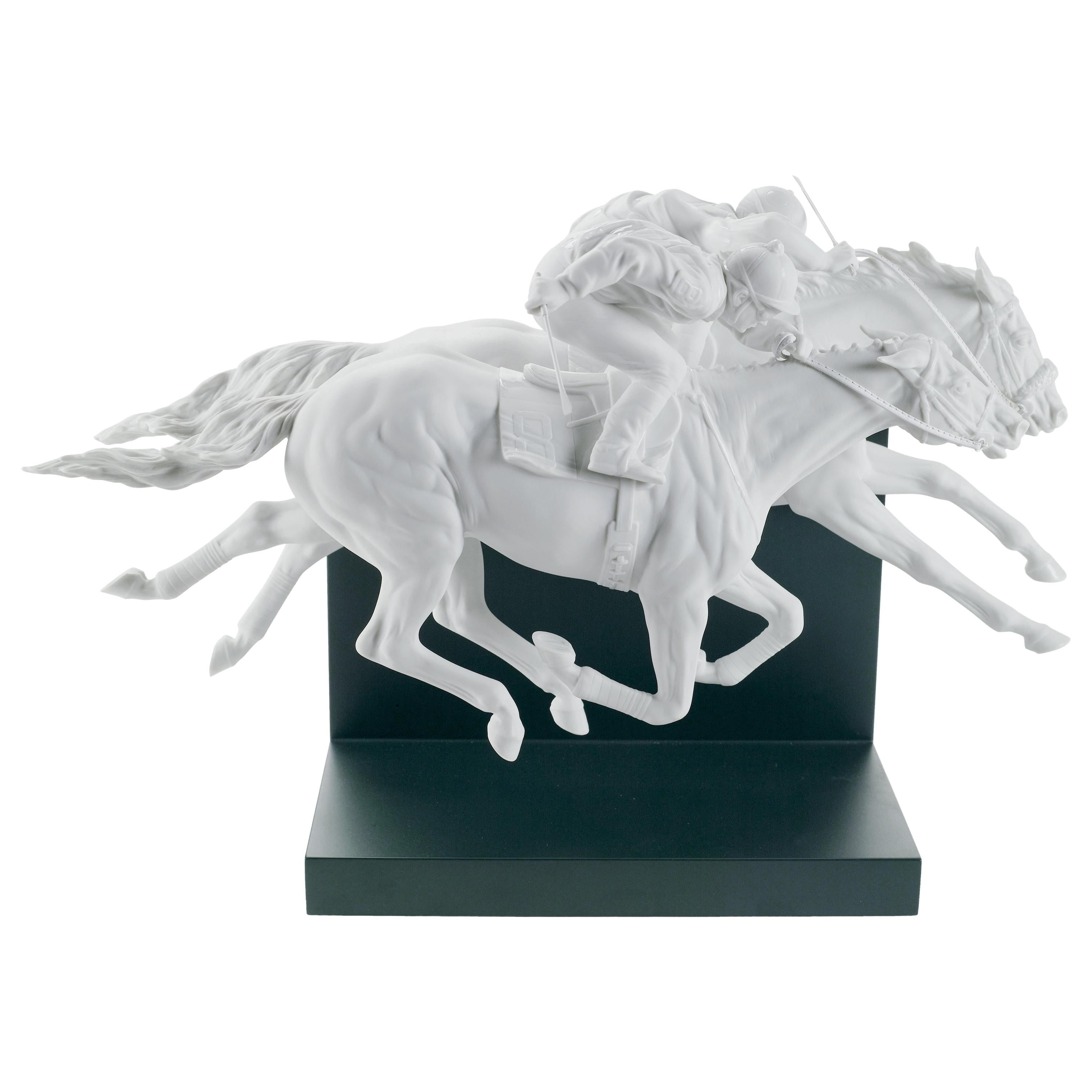 Lladro Horse Race Figurine in White by Ernest Massuet. Limited Edition.