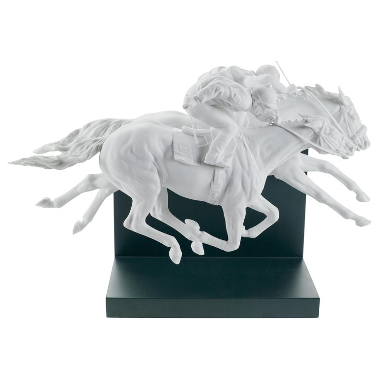 Lladro Horse Race Figurine in White by Ernest Massuet For Sale