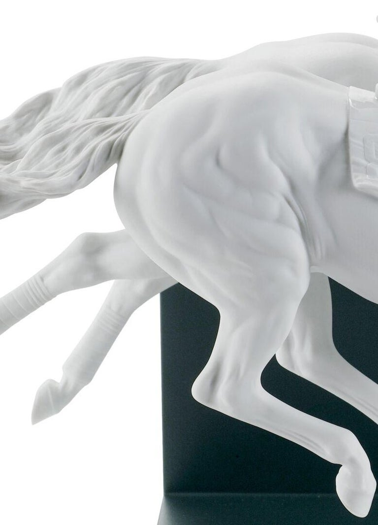 Modern Lladro Horse Race Figurine in White by Ernest Massuet. Limited Edition. For Sale