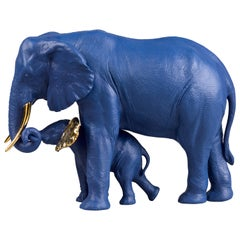 Lladro Leading The Way Sculpture in Blue and Gold by Ernest Massuet