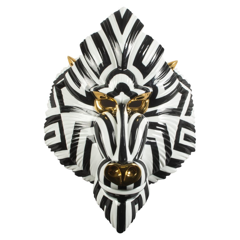 Lladro Mandrill Mask in Black and Gold by José Luis Santes For Sale