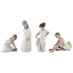 Lladro, Nao and Rex, Spain, Four Porcelain Figurines of Young Girls, 1970s-1980s