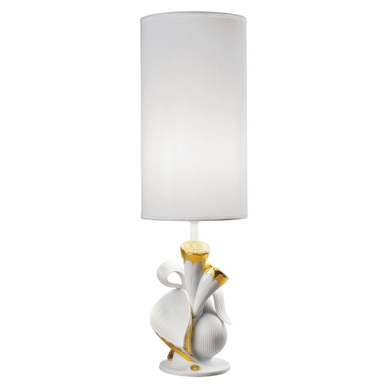 Lladro Naturofantastic Living Nature Table Lamp in Gold For Sale