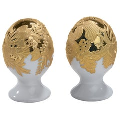 Lladro Naturofantastic Round Salt and Pepper Shakers, Gold by Virginia González
