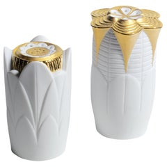 Lladro Naturofantastic Salt and Pepper Shakers in Gold by Marco Antonio Noguerón