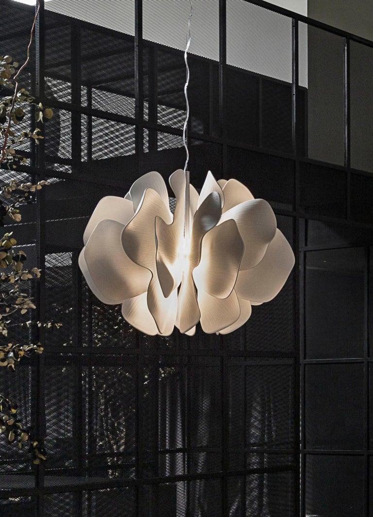 Spanish Lladro Nightbloom Hanging Lamp in White For Sale