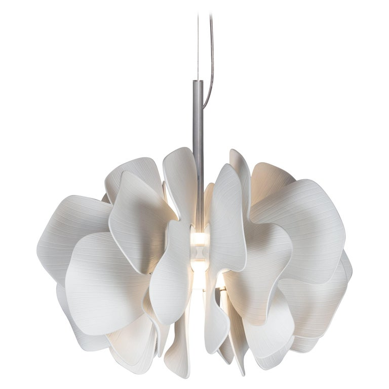 Lladro Nightbloom Hanging Lamp in White For Sale
