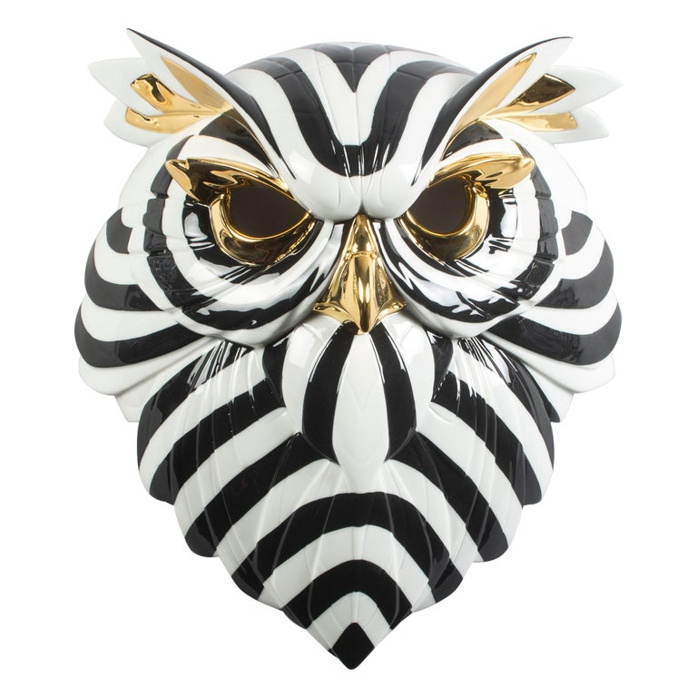 Lladro Owl Mask in Black and Gold by José Luis Santes For Sale