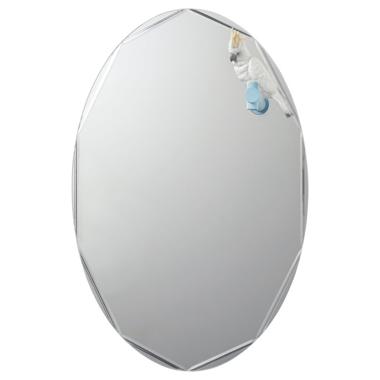 Lladro Parrot Shine II Wall Oval Mirror by Raul Rubio For Sale