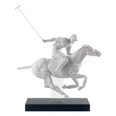 Lladro Polo Player Figurine in White by Ernest Massuet. Limited Edition.