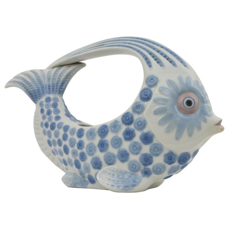 Lladró Porcelain Blue and White Fish Figure Centerpiece or Planter, Spain, 1970s For Sale