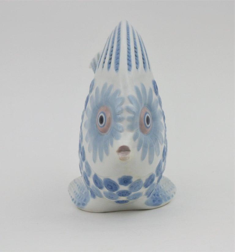 Painted Lladró Porcelain Blue and White Fish Figure Centerpiece or Planter, Spain, 1970s For Sale