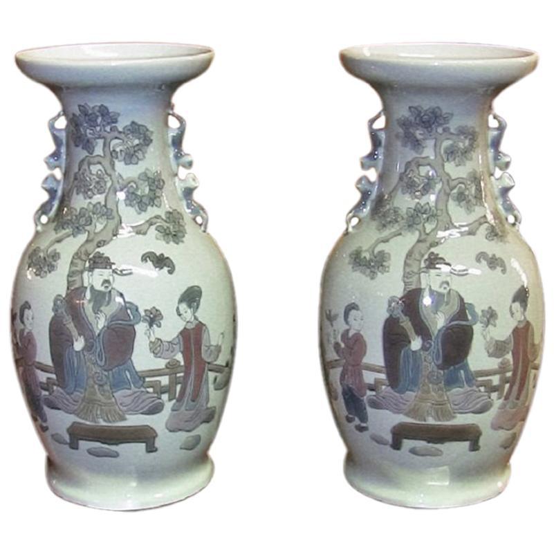 Lladro Retired Pair of Mandarin Vases