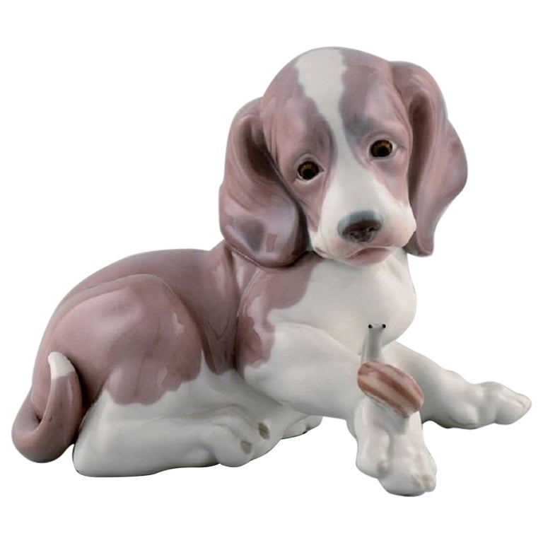 Lladro, Spain, Figure in Glazed Porcelain, Puppy and Snail, 1980s For Sale