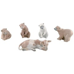Lladro, Spain, Five Porcelain Figurines, Four Bears and a Calf, 1980s-1990s