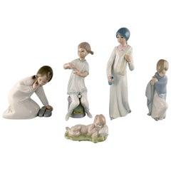 Lladro, Spain, Five Porcelain Figurines of Children, 1970s-1980s