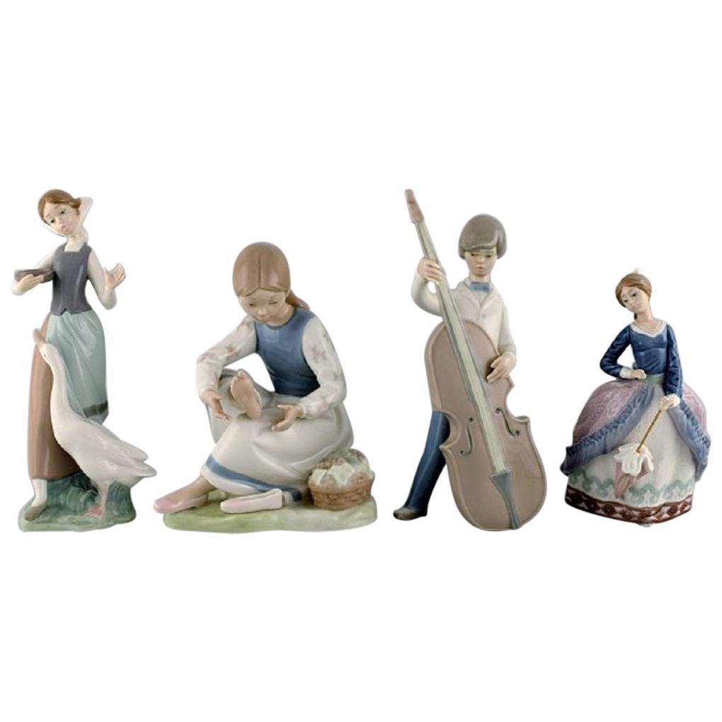 Lladro, Spain, Four Porcelain Figurines, 1970s-1980s