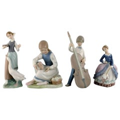 Lladro, Spain, Four Porcelain Figurines, 1970s-1980s